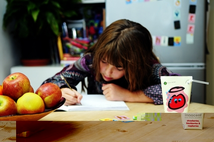 innocent kids smoothies_girl writing